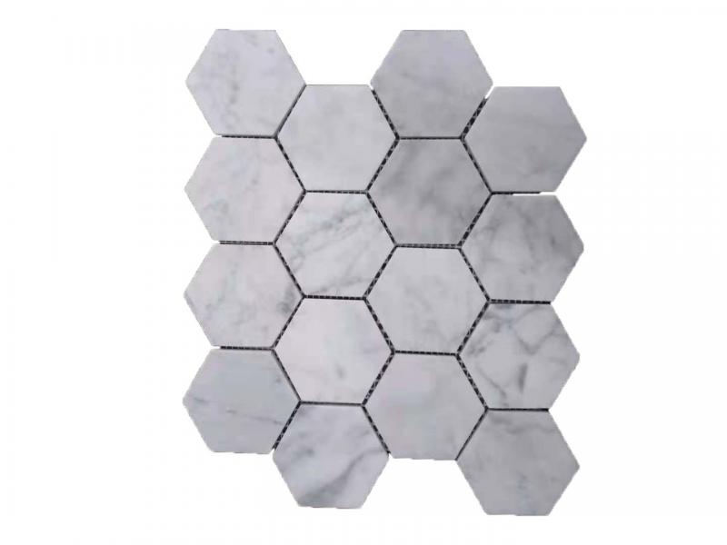 Entiva Stone Hexagon Carrara Mosaic