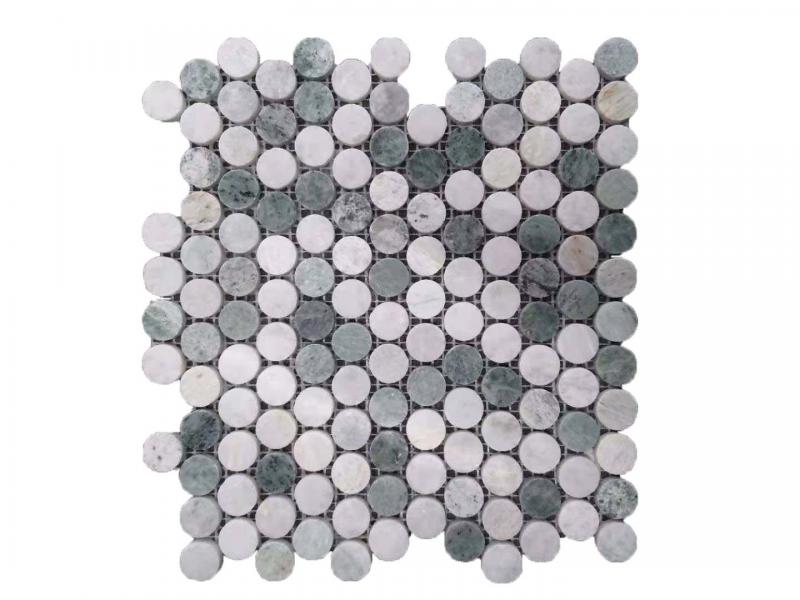 Entiva Stone Penny Round Green Mosaic