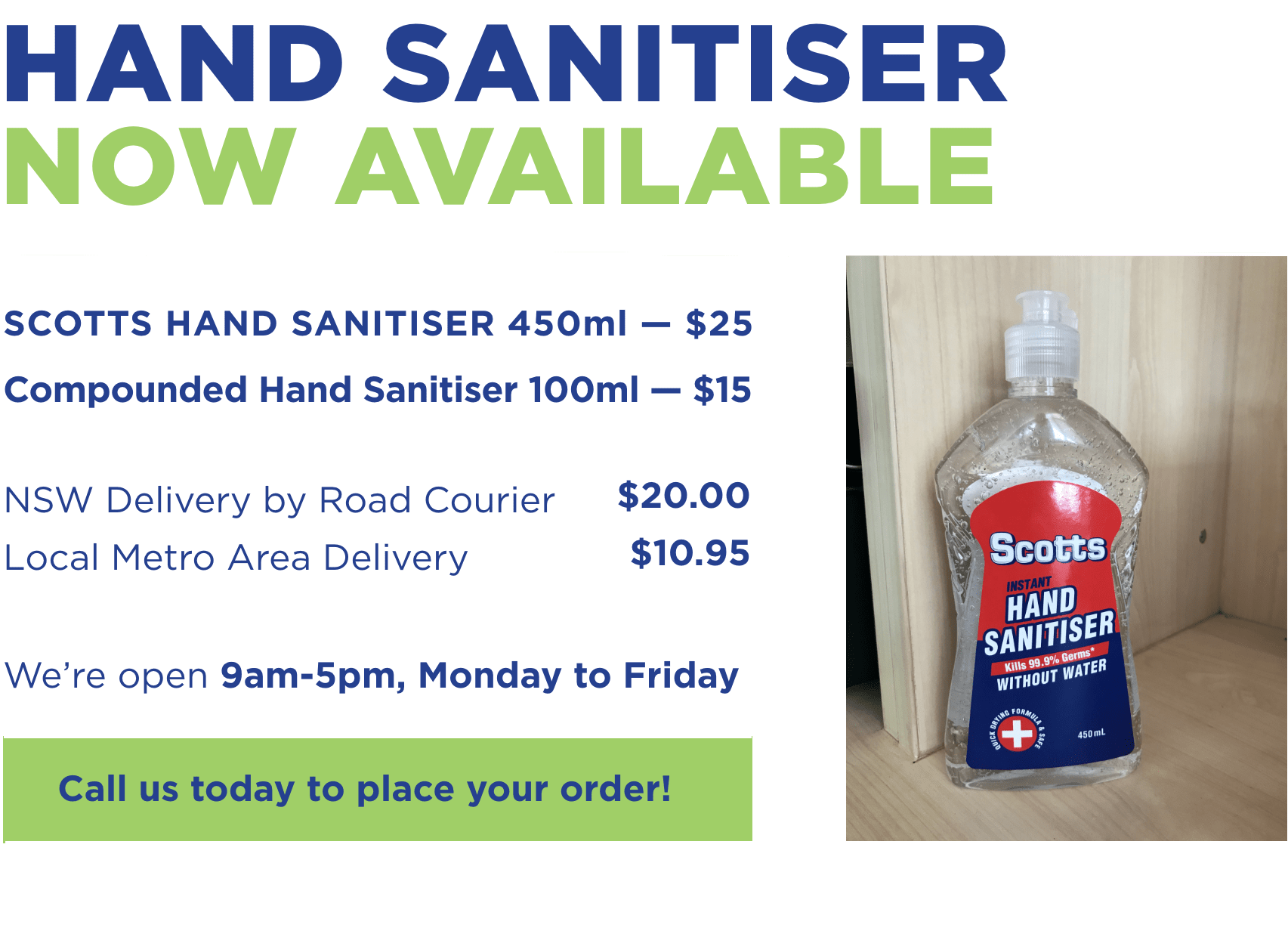 HAND SANITISER NOW AVAILABLE