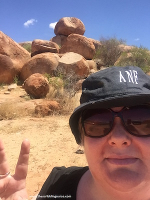 Rachel travelling to Devils Marbles