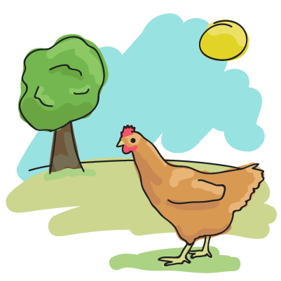 Illustration of a hen in a field