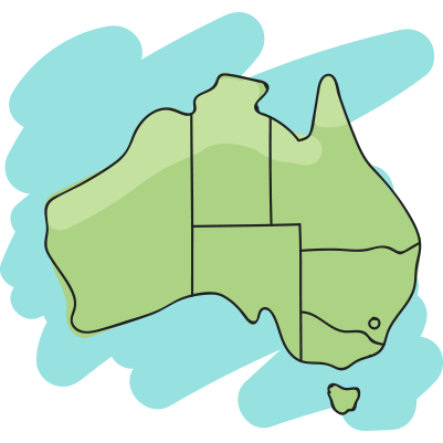 Illustration of hens over a map of Australia