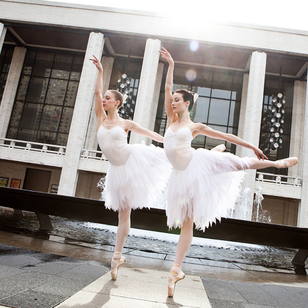 Lana Jones and Amber Scott in front of the David H.Koch Theater in New York. Photo by Matthew Murphy