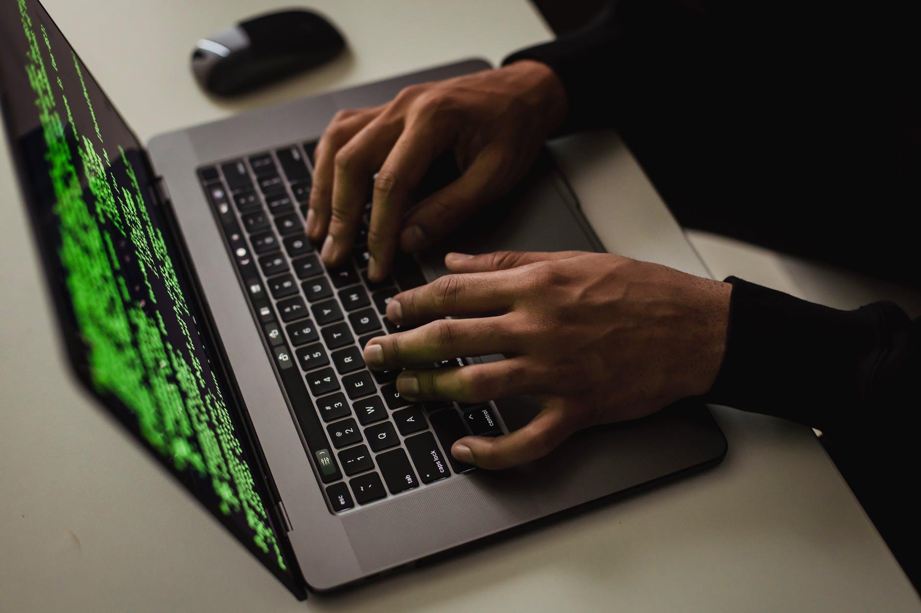 tanaman sistem peretasan mata-mata cyber saat mengetik di laptop