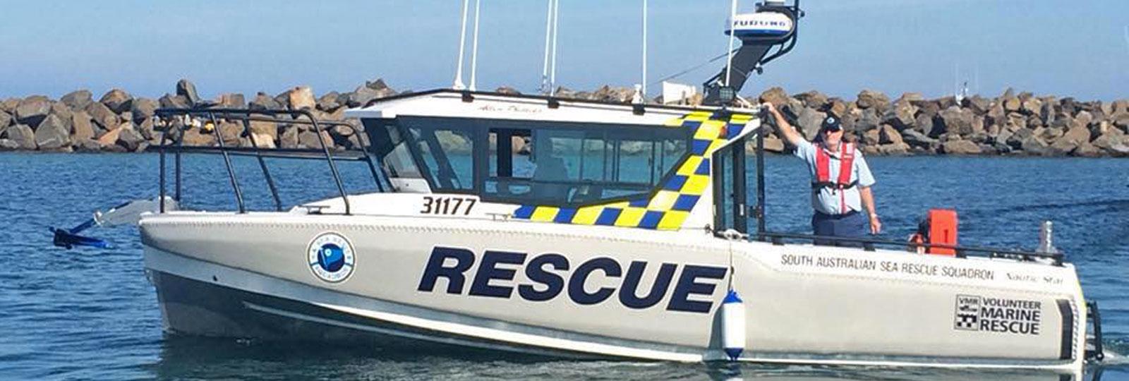 SES Volunteer in a Marine Rescue boat