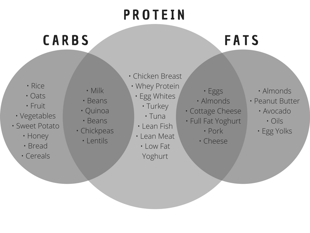 nutrition archives ⋆ page 2 of 3 ⋆ the bod  iifym table with protein, carb and fat sources in a visual graphic