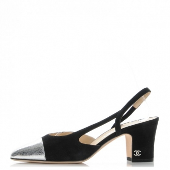 chanel-kid-suede-metallic-lambskin-cap-toe-cc-slingback-pumps-36-black-silver-10