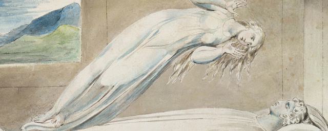 Illustrations to robert blair's the grave   the soul hovering over the body william blake