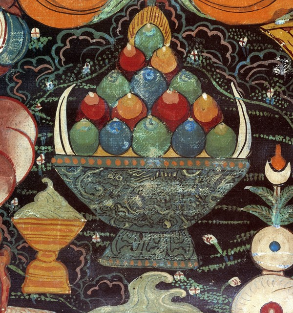 Detail of a bowl filled with peonies from attributes of rdo rje kon btsun de mo  protector of tibet and kham%29 in a tibetan rgyan tshogs banner. gouache painting by a tibetan painter.