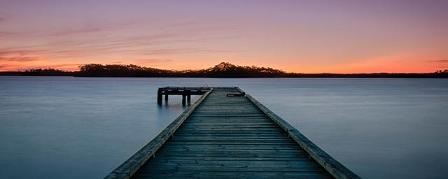 Long exposure sunset by the pier in strahan  tasmania  australia