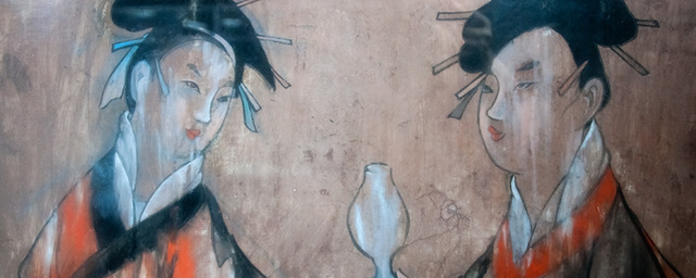 Dahuting tomb mural two figures hanfu  eastern han period