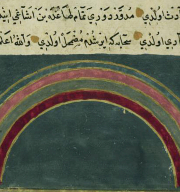 Illustration of a rainbow in a 13th century persian manuscript by zakariya ibn muhammad qazwini