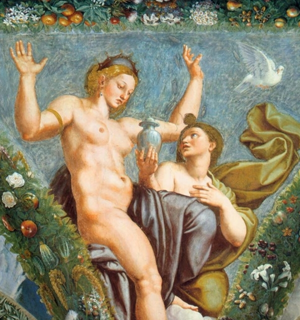 Detail from raphael%e2%80%99s venus and psyche %281517%29 pdr