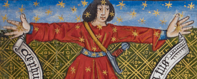 Detail of a miniature of cephus %28the king%29 in tables from ptolemy's almagest.