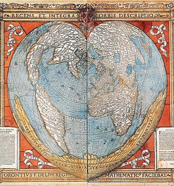 Heart shaped map of the world from paris  1536