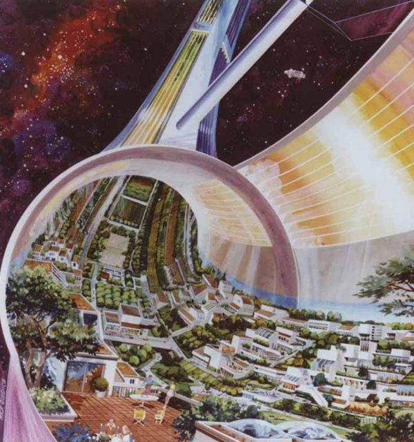 Space colony art from the 1970s nasa
