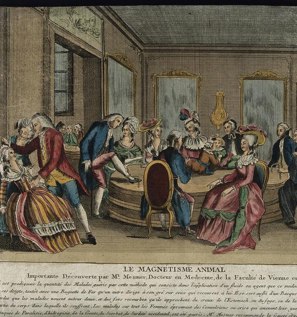 Patients in paris receiving mesmer's animal magnetism therapy. coloured etching after c l. desrais