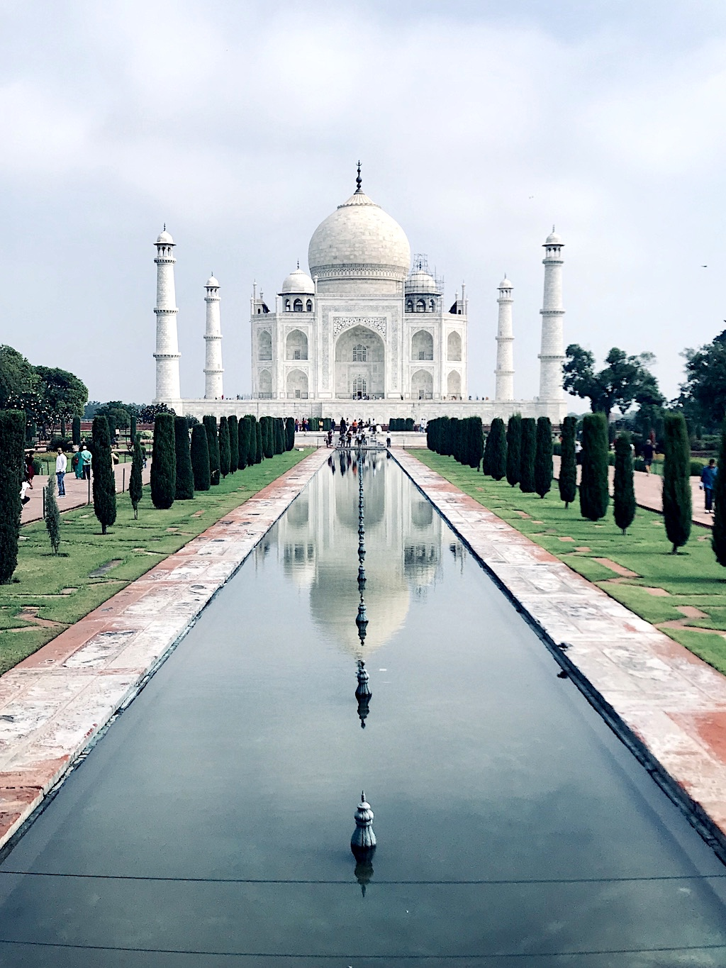 A front view of the Taj Mahal