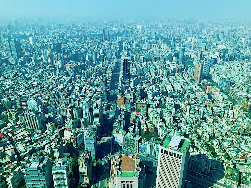 The view from Taipei101 observatory on the 89th floor
