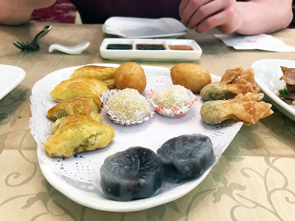 Fried and sweet dumpling banquet selection from Xi'an