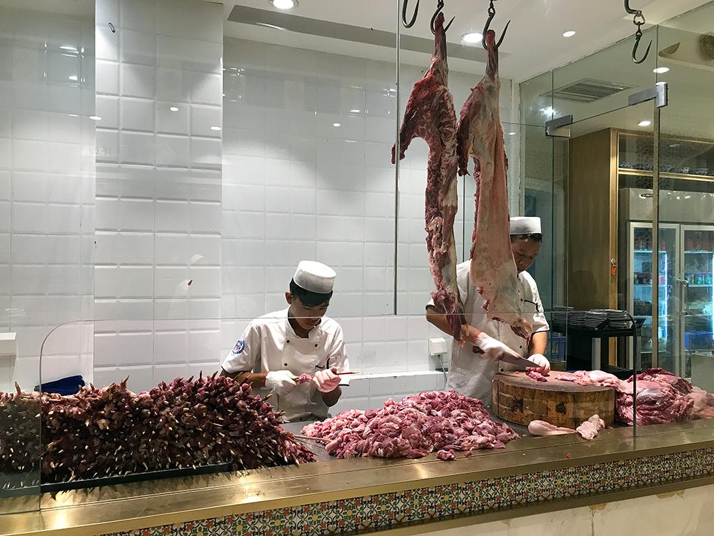 Making lamb kebabs