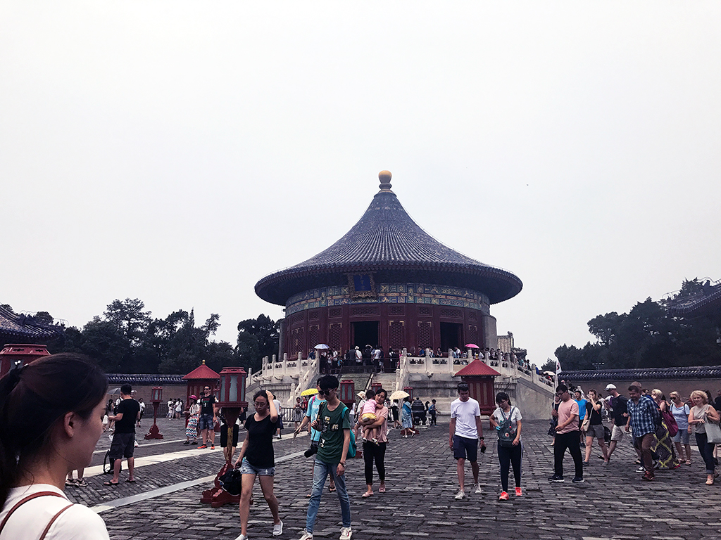 Tour groups at the Echo Chamber at the Temple of Heaven