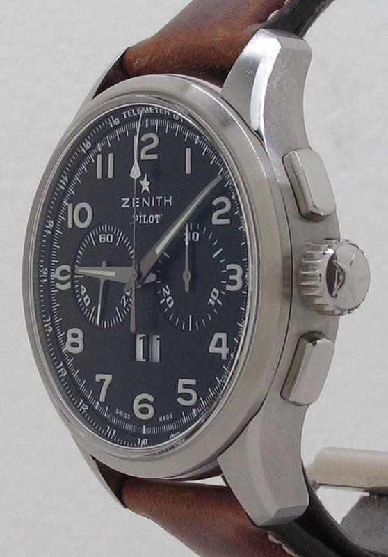 aa9fa5dc4ad Zenith ref 03.2410.4010 Steel 42mm Big Date Special Pilot El Primero Chrono  ...