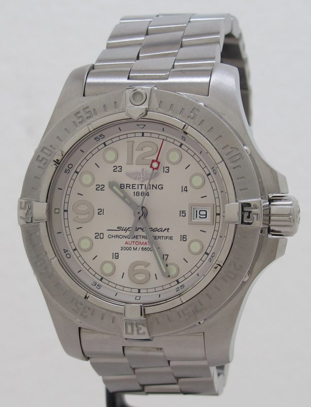 new arrival d56ac b241a Breitling ref A17390 Steel 41mm Auto White Dial SuperOcean ...