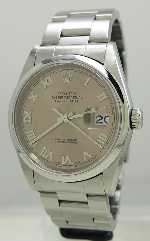 sharp watches. rolex ref 16200 steel auto 36mm oyster perpetual salmon roman dial datejust on in sharp condition from 2001 with box \u0026 papers watches