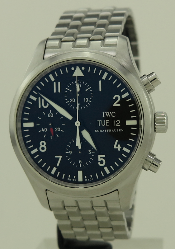 86dde379f77 IWC ref IW371704 Steel Auto 42mm Day-Date Pilot Flieger Chronograph ...