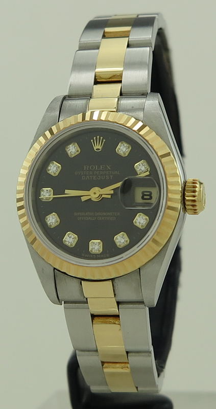 timeless design a031c b9caf Rolex ref 69173G Steel & Gold Auto 26mm Black Diamond Dial ...