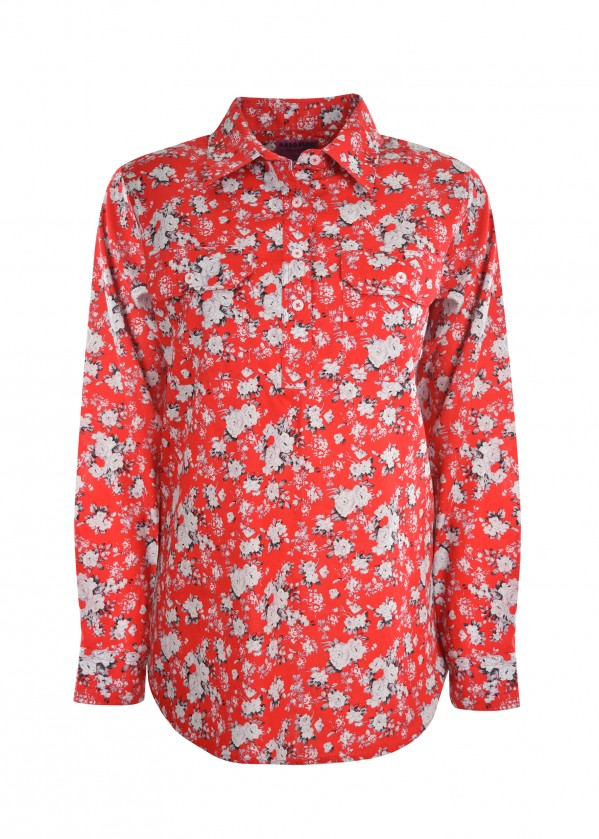 WMNS PRINT HALF PLACKET L/S SHIRT