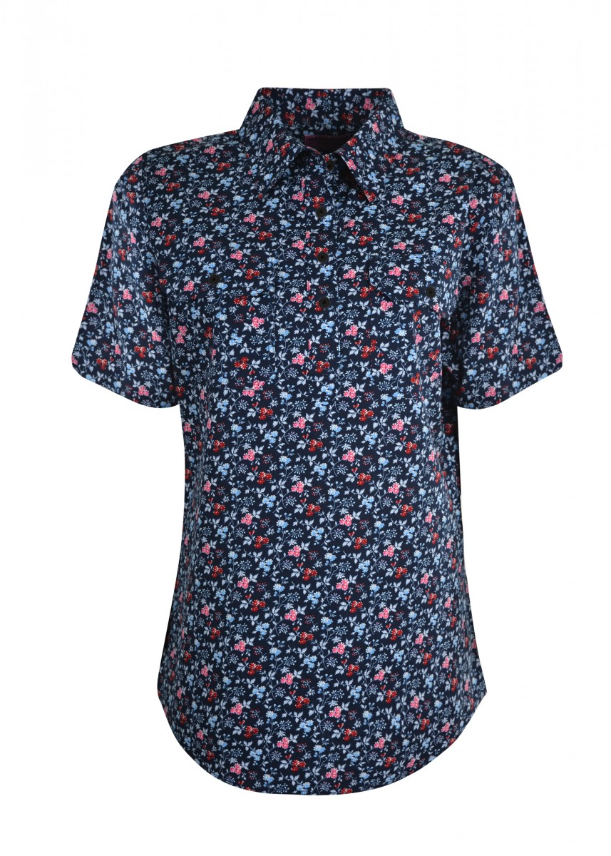 WOMENS PRINT HALF PLACKET S/S SHIRT
