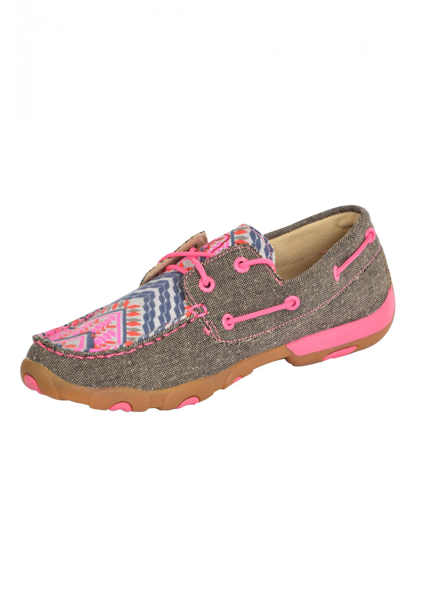 WOMENS P/RIBBON AZTEC ECO MOCS LOW LACE UP