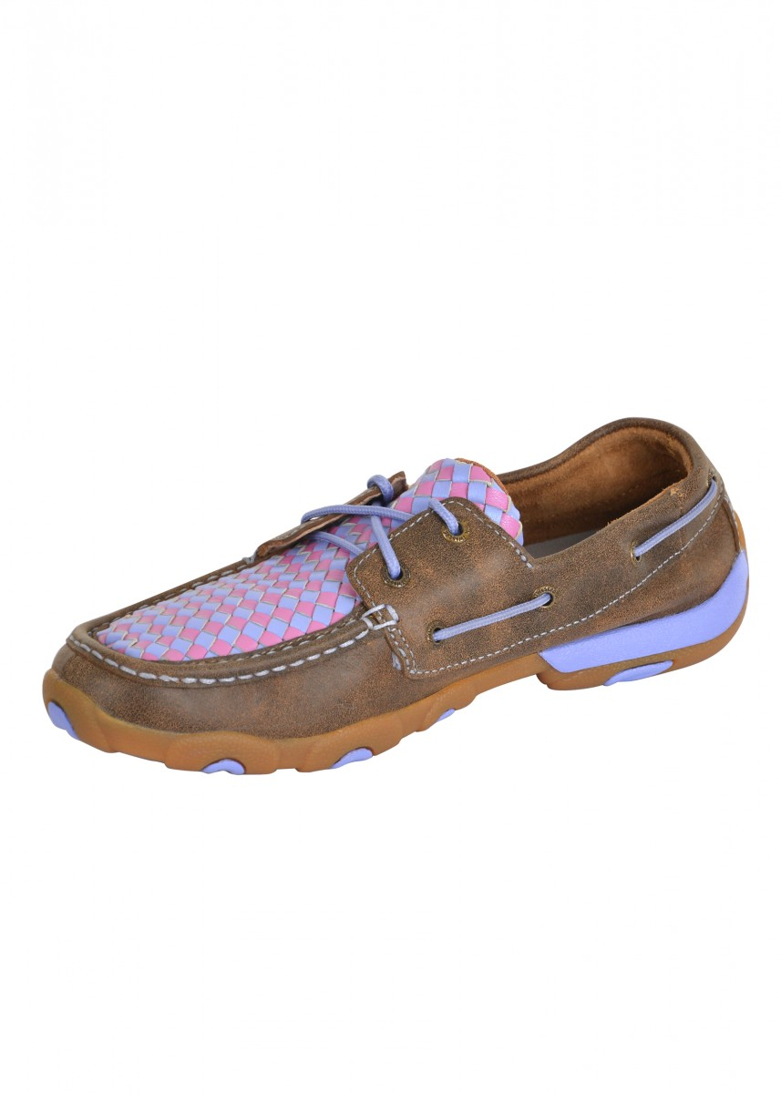 WOMENS WEAVE MOCS LOW LACE UP