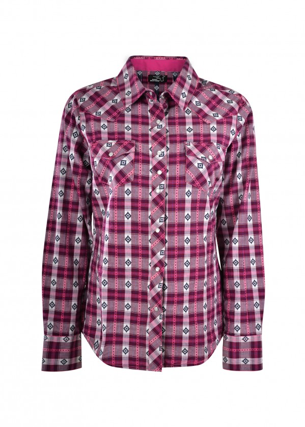 WOMENS SHANA CHECK WESTERN L/S SHIRT