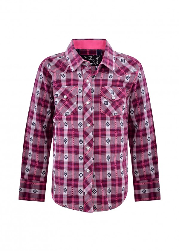 GIRLS SHANA CHECK WESTERN L/S SHIRT
