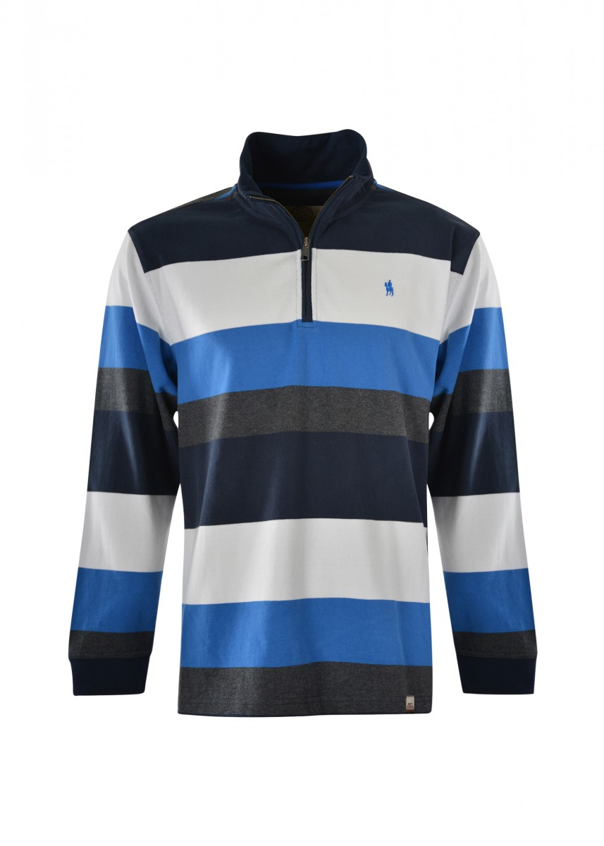 MENS BRANDON STRIPE 1/4 ZIP RUGBY