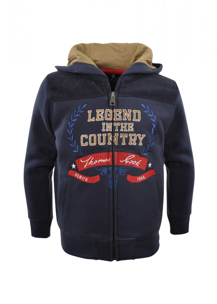 BOYS CREST ZIP THRU HOODY