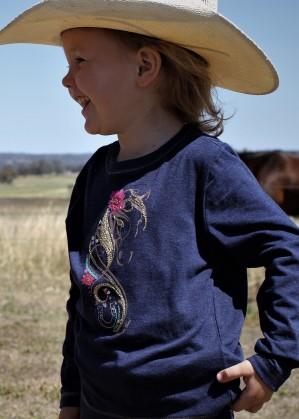 GIRLS LUCKY HORSE L/S TOP