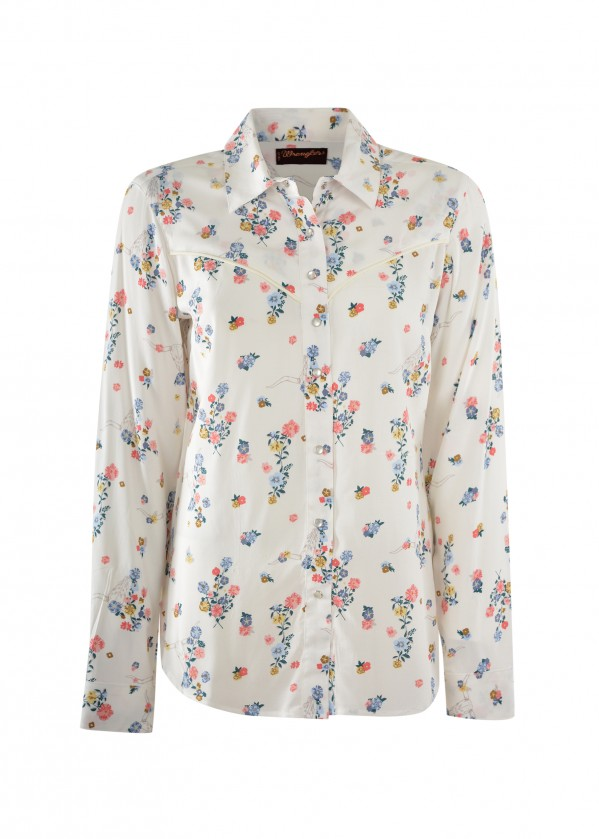 WOMENS WESTERN POLLY PRINT L/S SHIRT