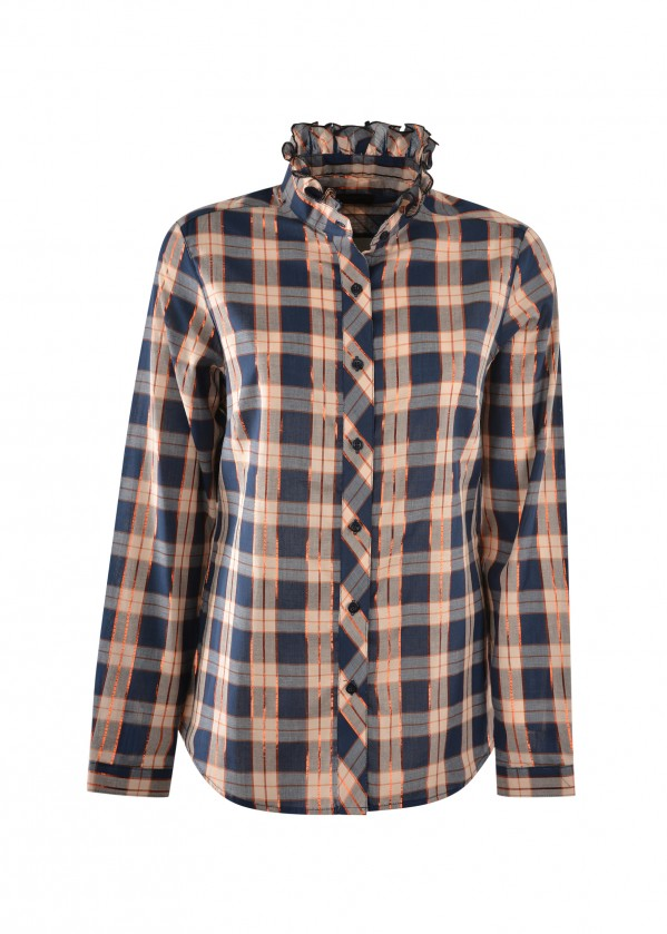 WOMENS ELLEN CHECK L/S FRILL NECK SHIRT