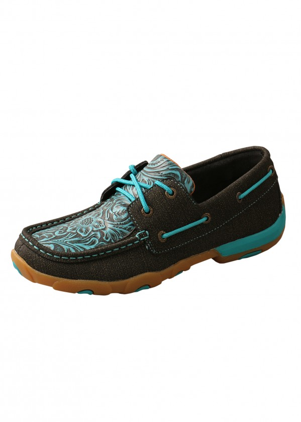 WOMENS EMBOSSED FLORAL MOCS LOW LACE UP