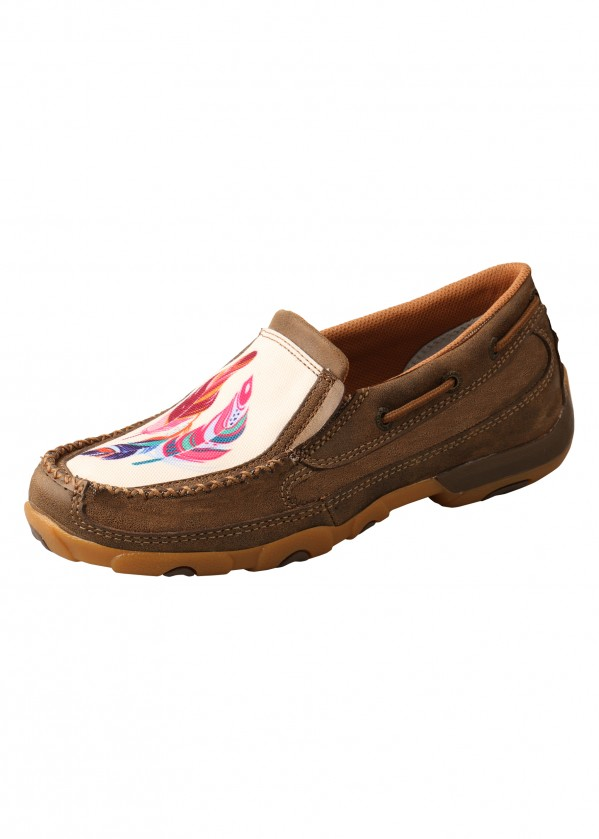 WOMENS FEATHERS MOCS SLIP ON
