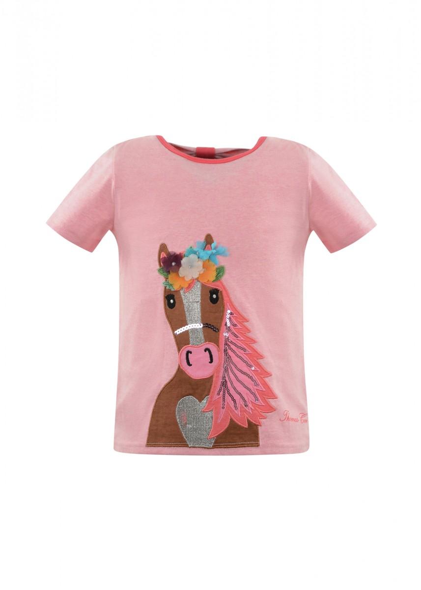 GIRLS APPLIQUE HORSE S/S TOP