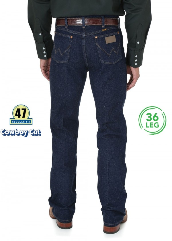 MENS COWBOY CUT STRETCH REG FIT JEAN 36 LEG