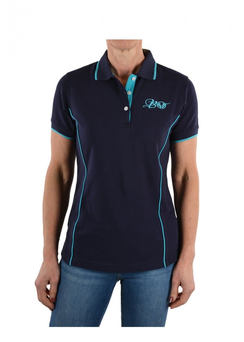 WOMENS PIPED POLO
