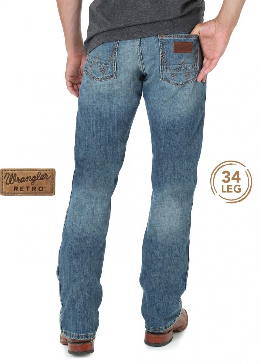 MENS RETRO SLIM STRAIGHT JEAN 34 LEG