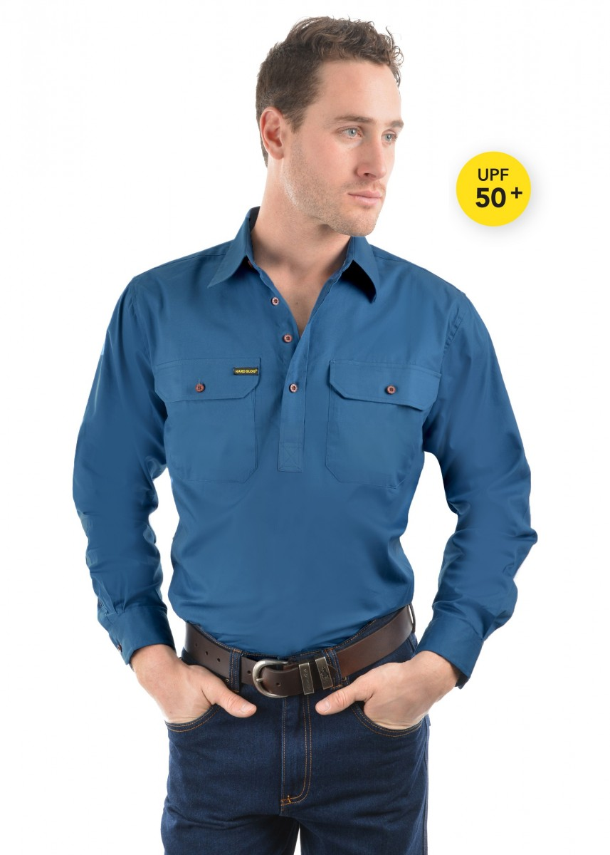 MENS HALF PLACKET HEAVY COTTON SHIRT