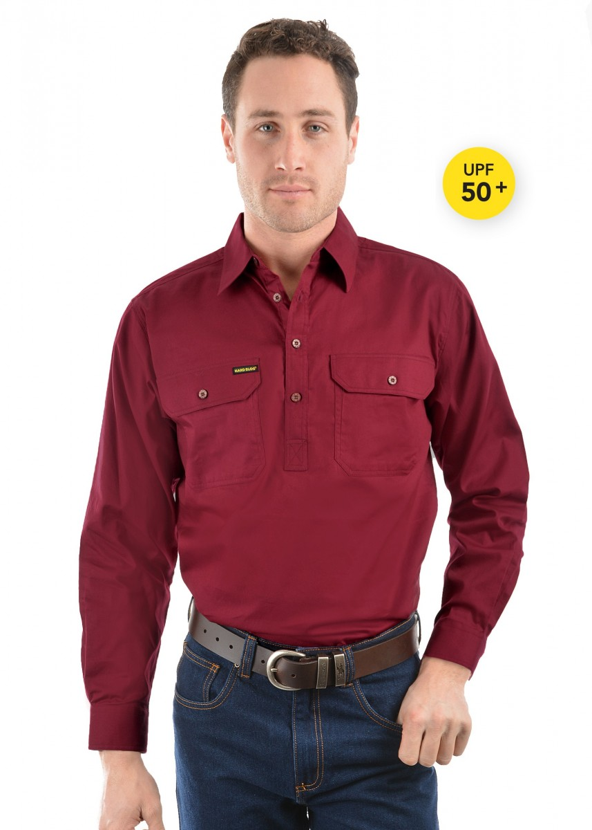 MENS HALF PLACKET LIGHT COTTON SHIRT